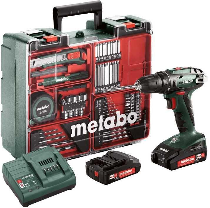 Дрель-шуруповерт METABO BS 18 SET,  2Ач,  с двумя аккумуляторами [602207880]