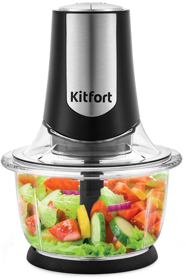 Измельчитель электрический Kitfort КТ-1390 1.2л. 400Вт черный/серебристый