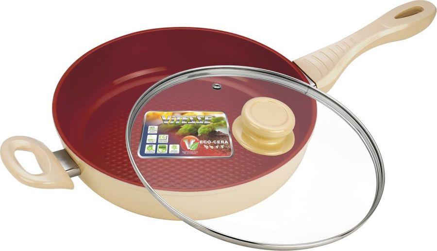 Сковорода Vitesse VS-2260 круглая руч.:несъем. (с крышкой) бежевый (мех.повреждения)