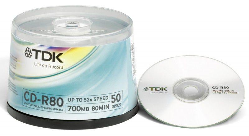 Оптический диск CD-R TDK 700Мб 52x, 50шт., cake box