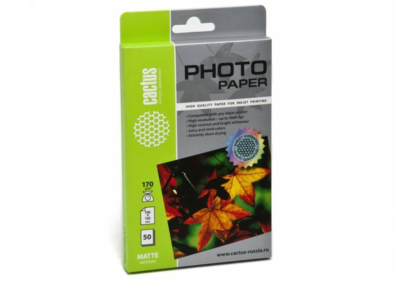 Фотобумага Cactus CS-MA617050 10x15/170г/м2/50л./белый матовое для струйной печати
