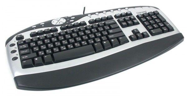 Клавиатура CHICONY KBP-0108,  PS/2, c подставкой для запястий, черный