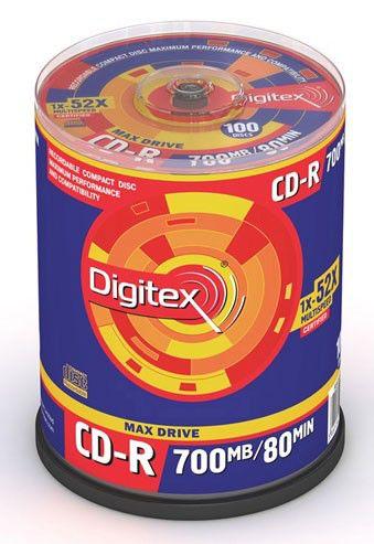 Оптический диск CD-R DIGITEX 700Мб 52x, 100шт., cake box [r80s52-c100]