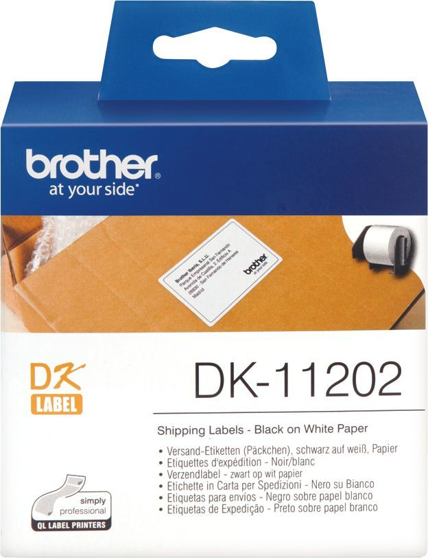 Картридж BROTHER DK11202 черный шрифт, белый