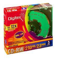 Оптический диск CD-RW DIGITEX 210Мб 12x, 5шт., slim case, разноцветные [rw23cx12-sc5]