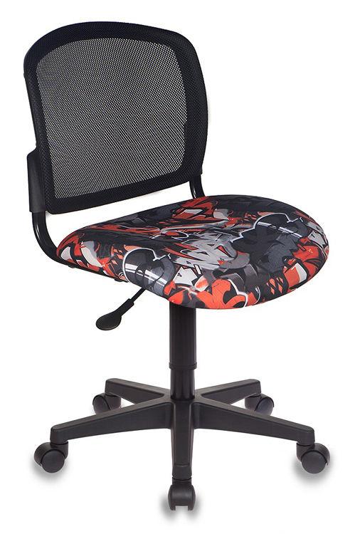 Кресло детское БЮРОКРАТ CH-296NX, на колесиках, ткань, черный/принт [ch-296nx/graffity]