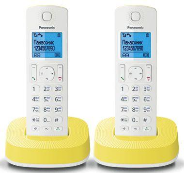 Радиотелефон PANASONIC KX-TGC312RUY,  белый и желтый