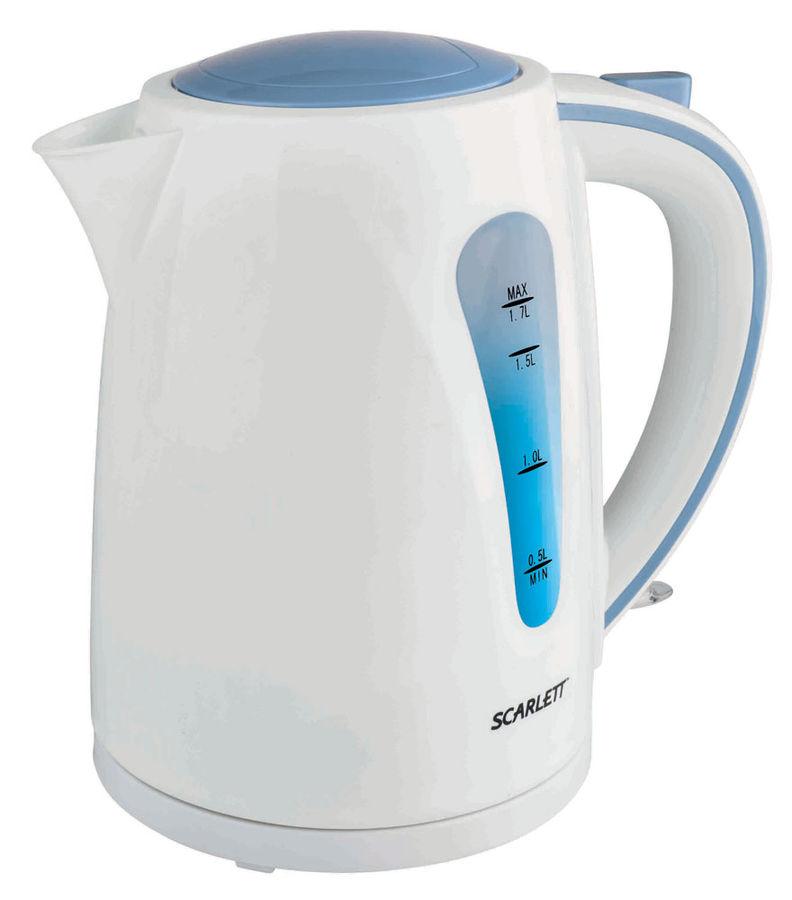 Чайник электрический SCARLETT SC-EK18P14, 2200Вт, белый и голубой