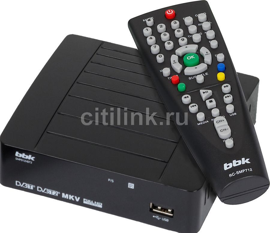 Ресивер DVB-T2 BBK SMP012HDT2,  черный [smp012hdt2 чер]