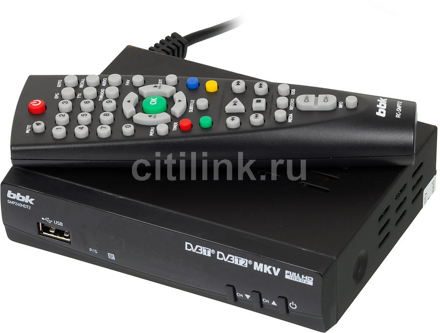 Ресивер DVB-T2 BBK SMP240HDT2,  черный [(dvb-t2) dvb-t smp240hdt2 чер]
