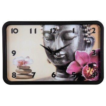 Настенные часы HAMA Buddha Flower, аналоговые,  черный