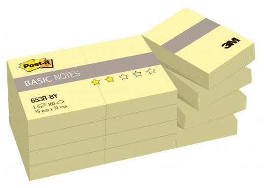 Блок для записей бумажный 3M Post-it Basic 653R-BY 7100033526 38x51мм 100лист. желтый