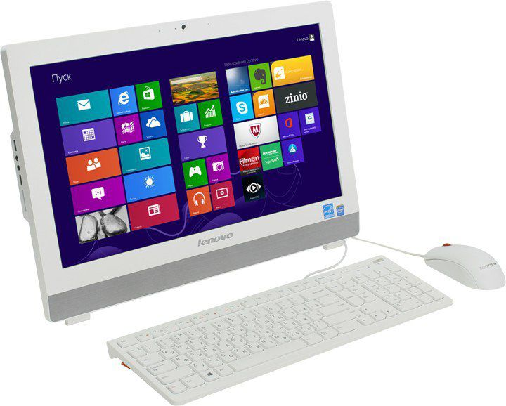 Моноблок LENOVO S20-00, Intel Celeron J1800, 4Гб, 1000Гб, Intel HD Graphics, Free DOS, белый [f0ay003ark]