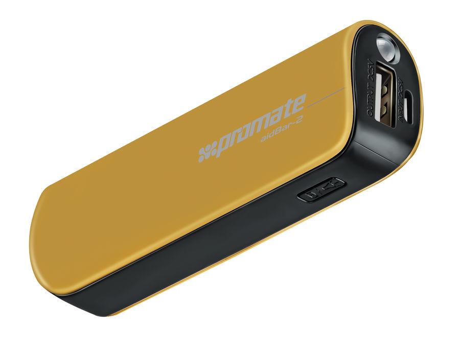 Внешний аккумулятор PROMATE Aidbar-2,  2500мAч,  золотистый [00007811]