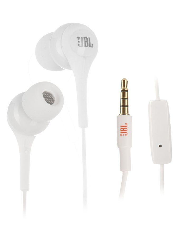 Гарнитура JBL T200AWHT, вкладыши,  белый, проводные