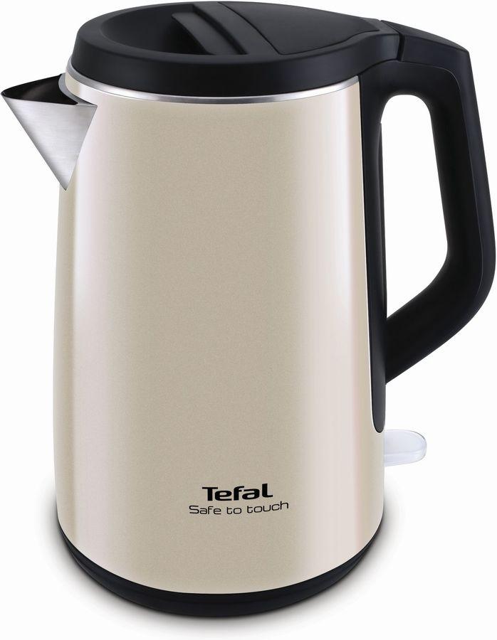 Чайник электрический TEFAL KO371 I30 Safe to touch, 2200Вт, бежевый и черный