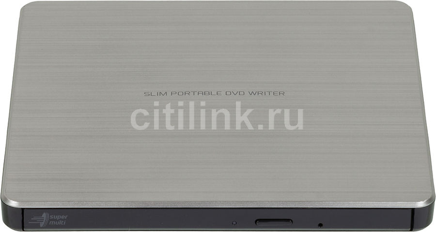 Оптический привод DVD-RW LG GP60NS60, внешний, USB, серебристый + черный,  Ret