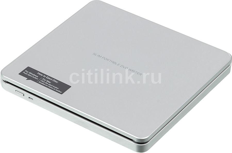 Оптический привод DVD-RW LG GP70NS50, внешний, USB, серебристый,  Ret