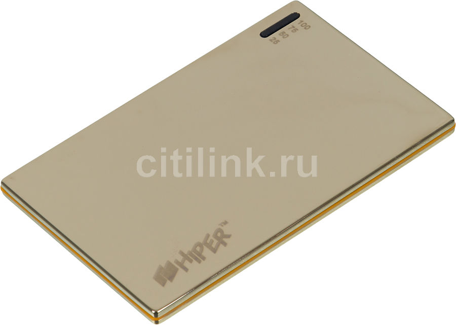 Внешний аккумулятор HIPER PowerBank SLIM2000,  2000мAч,  золотистый [slim2000 golden mirror]