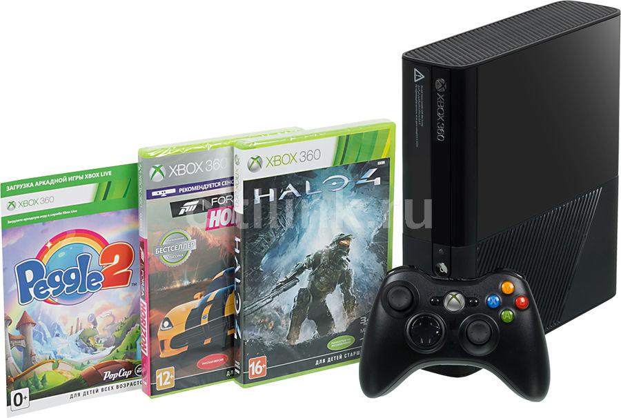 Игровая консоль MICROSOFT Xbox 360 E с 4 ГБ памяти, играми Forza Horizon, Halo4 и Peggle,  L9V-00049, черный