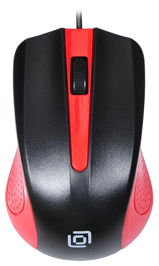 Мышь OKLICK 225M, оптическая, проводная, USB, черный и красный [mo-353]