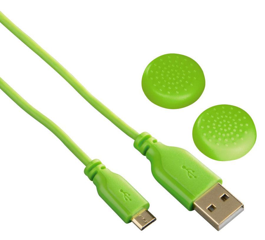 Зарядный кабель HAMA SuperSoft, для  PlayStation 4, зеленый, 3м [00115472]