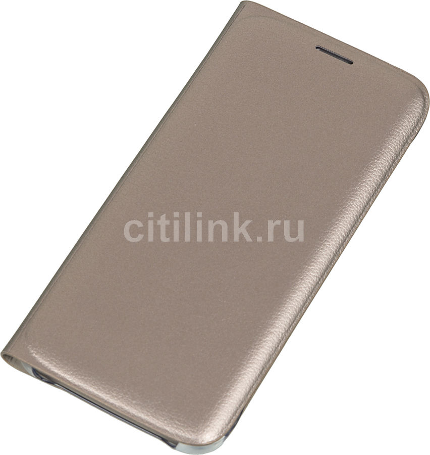 Чехол (флип-кейс) SAMSUNG Flip Wallet, для Samsung Galaxy S6 Edge, золотистый [ef-wg925pfegru]