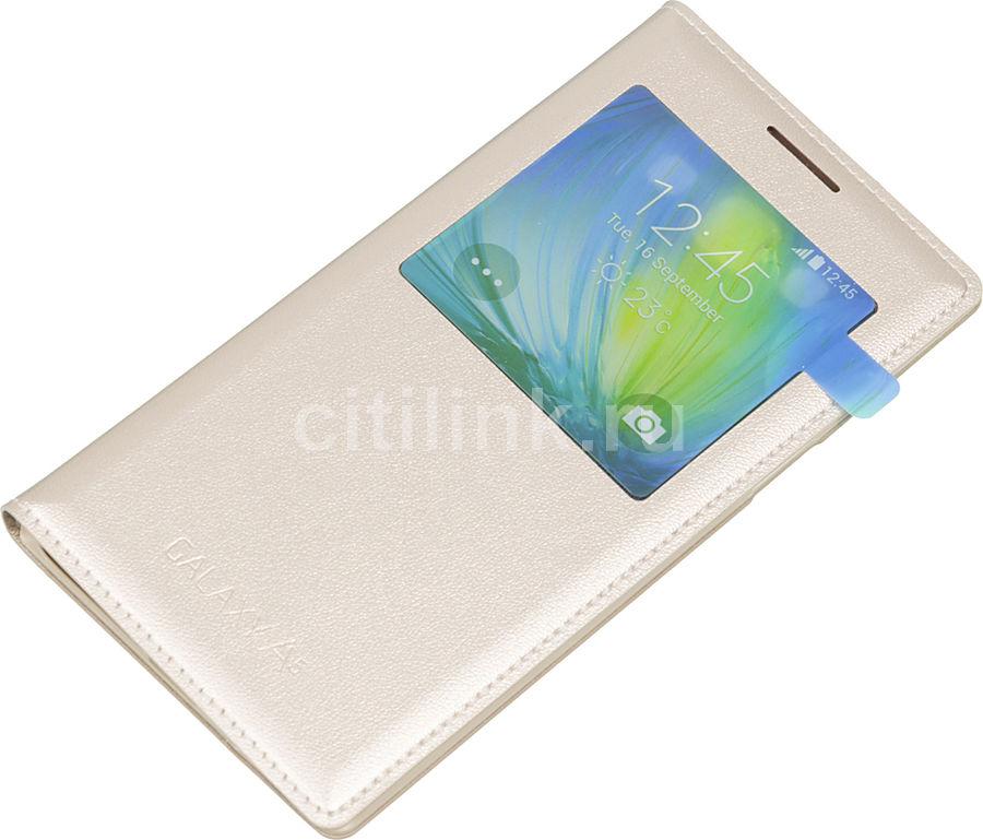 Чехол (флип-кейс) SAMSUNG S View Cover, для Samsung Galaxy A5, золотистый [ef-ca500bfegru]