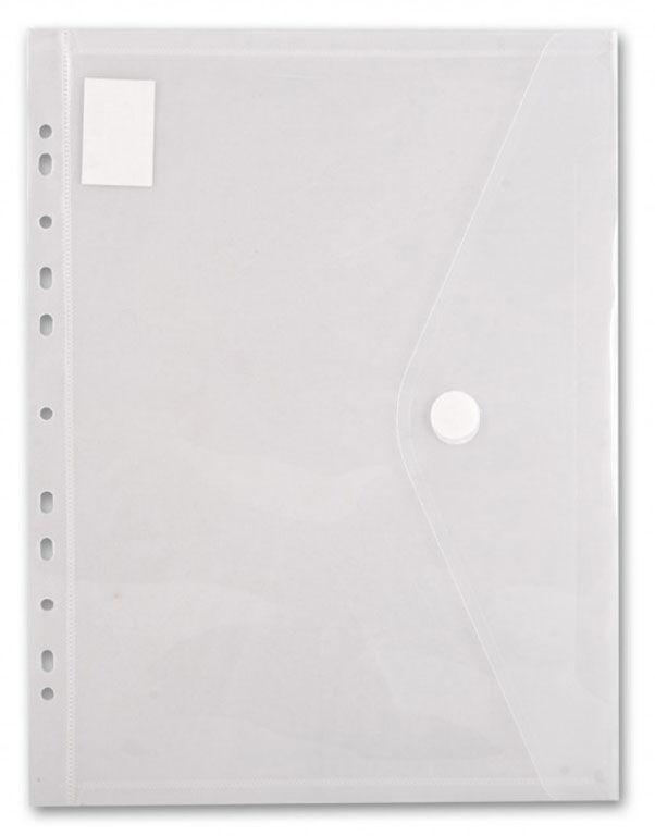Конверт на кнопке Бюрократ -PK880CLEAR/1 A4 с перфорац. по длинной стороне пластик 0.18мм прозрачный