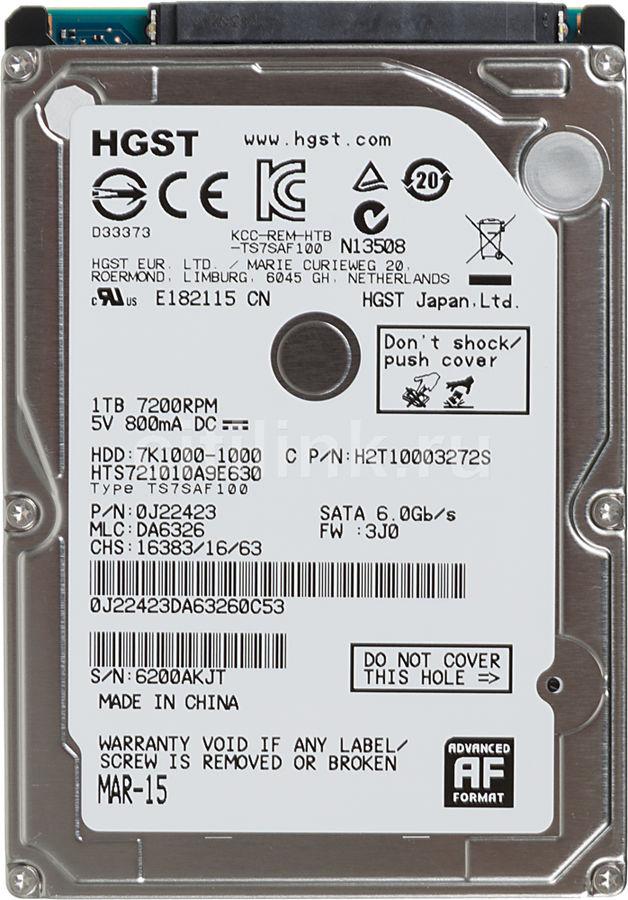 """Жесткий диск HGST Travelstar 7K1000 HTS721010A9E630,  1Тб,  HDD,  SATA III,  2.5"""" [0j22423]"""