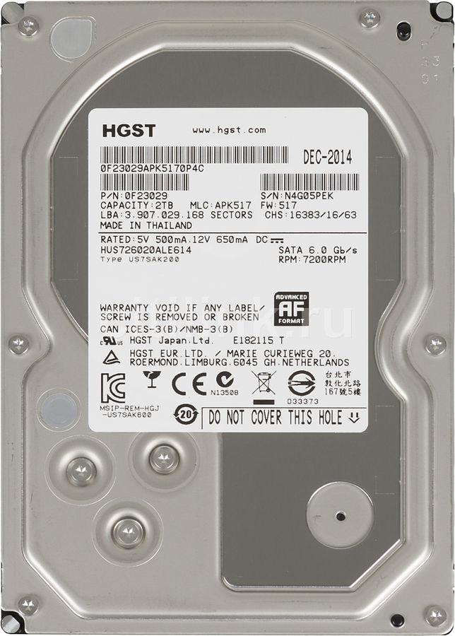 Жесткий диск HGST Ultrastar 7K6000 HUS726020ALE614,  2Тб,  HDD,  SATA III,  3.5