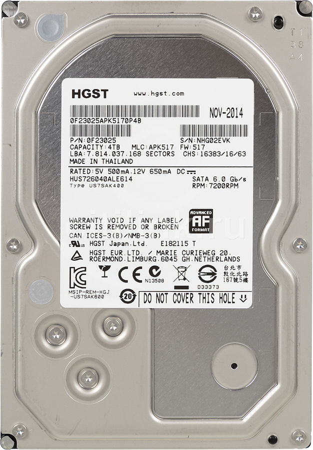 "Жесткий диск HGST Ultrastar 7K6000 HUS726040ALE614,  4Тб,  HDD,  SATA III,  3.5"" [0f23025]"