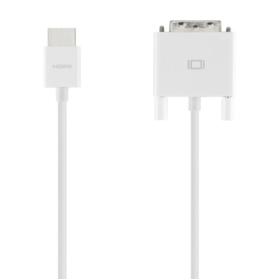 Кабель DVI BELKIN AV10161YW2M-APL,  HDMI -  DVI (m),  круглое,  2м,  белый