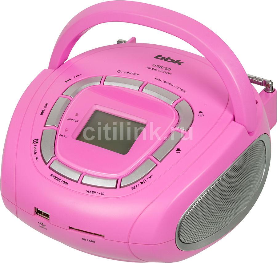 Аудиомагнитола BBK BS05,  розовый и серебристый