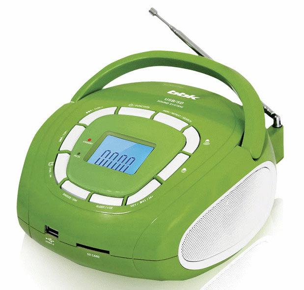 Аудиомагнитола BBK BS05,  салатовый и серебристый