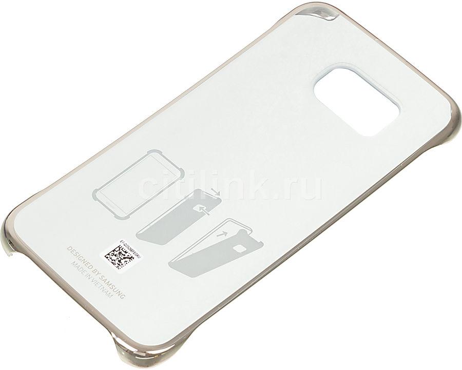 Чехол (клип-кейс) SAMSUNG Clear Cover, для Samsung Galaxy S6 Edge, золотистый [ef-qg925bfegru]