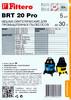 Пылесборники FILTERO BRT 20 Pro,  5 шт., для BORT/SHOP/VAC/ОБИ,  Совместимость: BORT  BSS 1220 Pro, BSS 1330 Pro, BSS 1518 Pro;  SHOP VAC  Pro 20 I, Pro 30 S Deluxe, Pro 30 SI Deluxe, Super 1300, Super 1300 I, Super вид 3