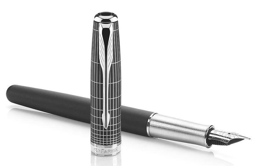 Ручка перьевая Parker Sonnet F536 (1930256) Contort Black Cisele F золото 18K с рутениевым покрытием