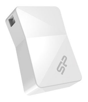 Флешка USB SILICON POWER Touch T08 4Гб, USB2.0, белый [sp004gbuf2t08v1w]