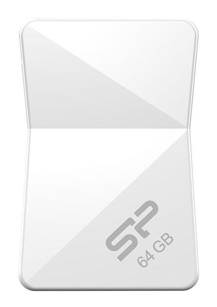 Флешка USB SILICON POWER Touch T08 64Гб, USB2.0, белый [sp064gbuf2t08v1w]