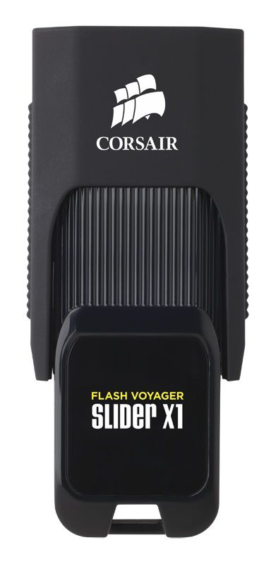 Флешка USB CORSAIR Voyager Slider X1 128Гб, USB3.0, черный [cmfsl3x1-128gb]