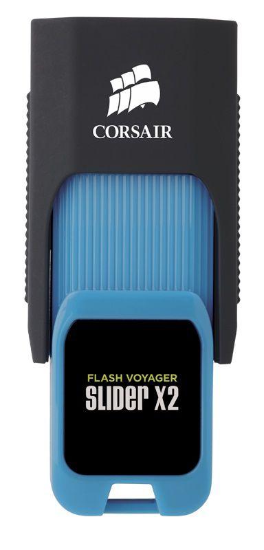 Флешка USB CORSAIR Voyager Slider X2 64Гб, USB3.0, черный и голубой [cmfsl3x2-64gb]