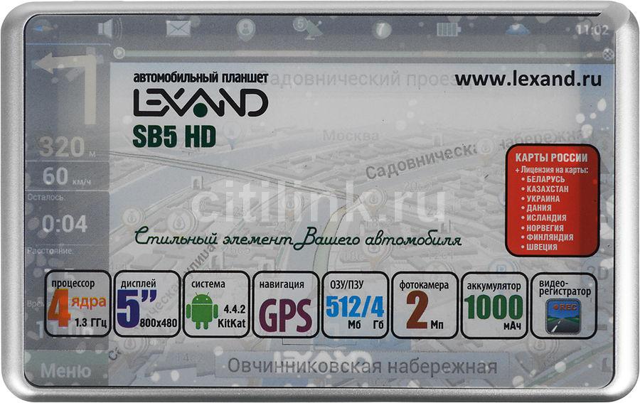 "GPS навигатор LEXAND SB5 HD,  5"",  авто, 4Гб, Navitel 9 стран,  черный"