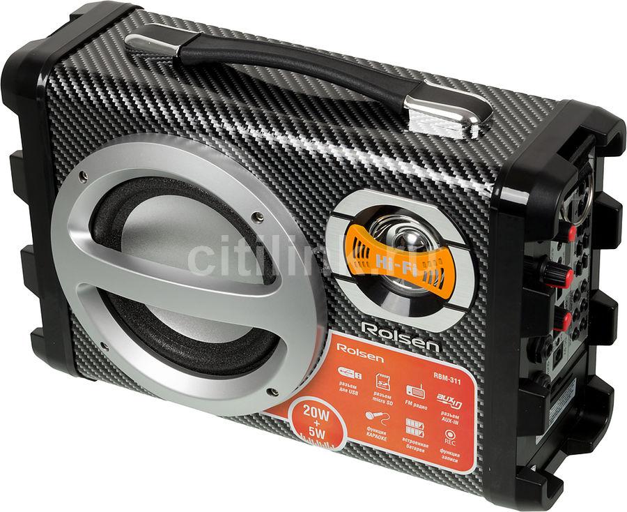 Аудиомагнитола ROLSEN RBM-311,  черный и серебристый