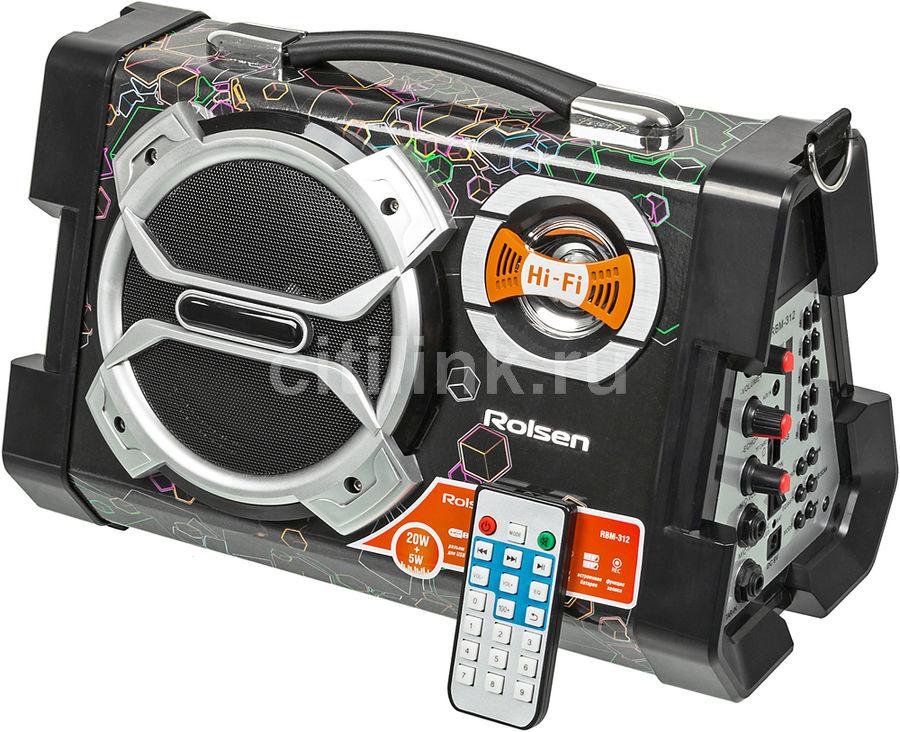 Аудиомагнитола ROLSEN RBM-312,  черный и серебристый