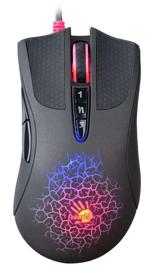 Мышь A4 Bloody A90 Blazing, игровая, оптическая, проводная, USB, черный