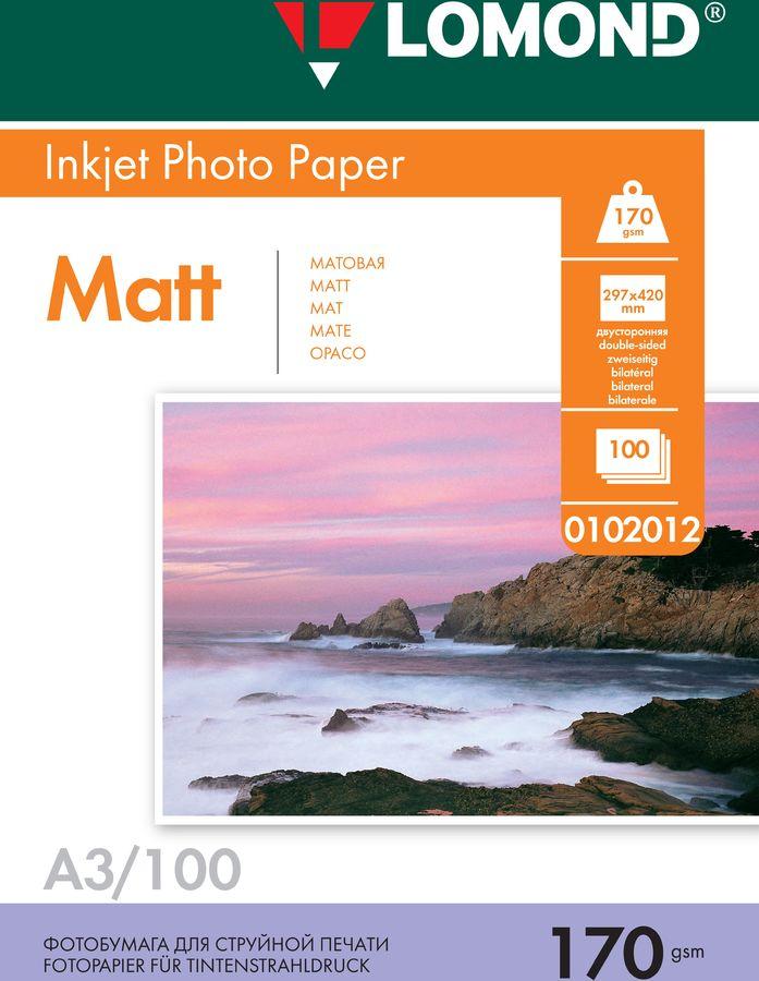 Фотобумага Lomond 0102012 A3/170г/м2/100л./белый матовое/матовое для струйной печати