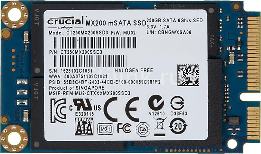 SSD накопитель CRUCIAL MX200 CT250MX200SSD3 250Гб, mSATA, SATA III