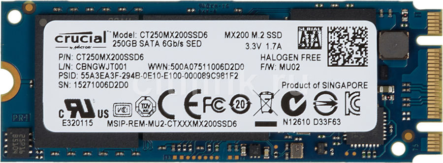 SSD накопитель CRUCIAL MX200 CT250MX200SSD6 250Гб, M.2 2260 (Double Sided), SATA III