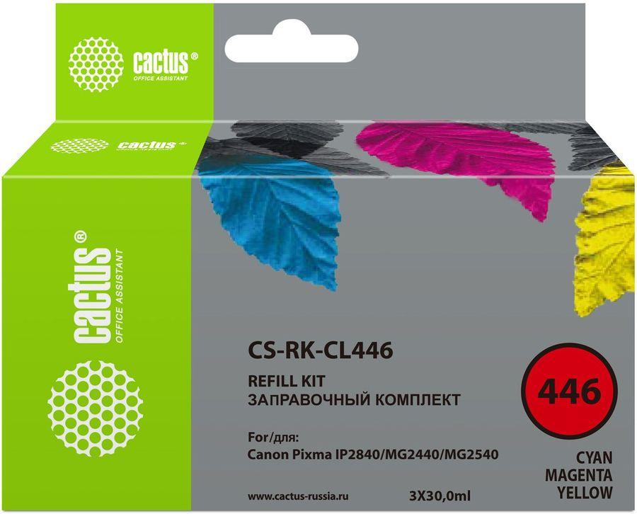 Заправочный комплект CACTUS CS-RK-CL446, для Canon, 90мл, многоцветный